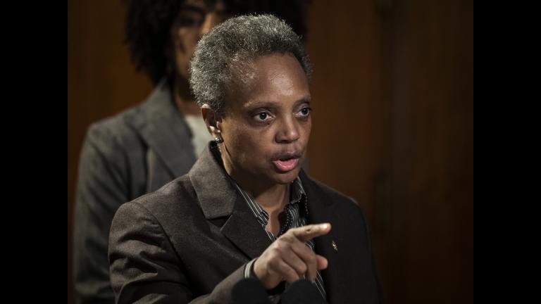 Mayor Lori Lightfoot speaks about the Chicago Teachers Union strike during a press conference at City Hall on Thursday morning, Oct. 31, 2019. (Ashlee Rezin Garcia / Chicago Sun-Times via AP)