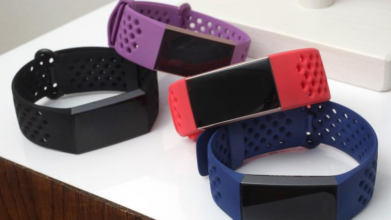 In this Aug. 16, 2018, file photo, the new Fitbit Charge 3 fitness trackers with sport bands are displayed in New York. (AP Photo / Richard Drew, File)