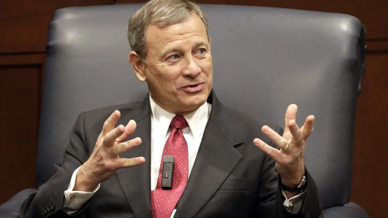 In this Feb. 6, 2019 file photo, Supreme Court Chief Justice John Roberts answers questions during an appearance at Belmont University in Nashville, Tennessee. (AP Photo / Mark Humphrey)