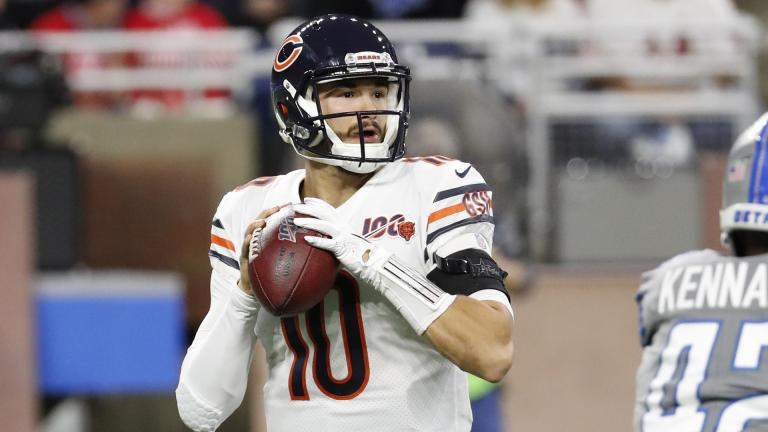 Chicago Bears quarterback Mitchell Trubisky throws during the first half of an NFL football game against the Detroit Lions, Thursday, Nov. 28, 2019, in Detroit. (AP Photo / Rick Osentoski)