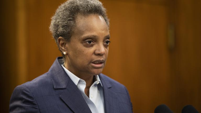 Mayor Lori Lightfoot speaks during a press conference at City Hall to announce the firing of Chicago Police Supt. Eddie Johnson, Monday morning, Dec. 2, 2019. (Ashlee Rezin Garcia / Chicago Sun-Times via AP)