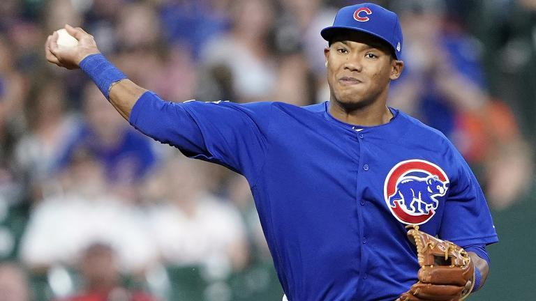 In this May 29, 2019, file photo, Chicago Cubs shortstop Addison Russell throws to first during the eighth inning of a baseball game against the Houston Astro in Houston. (AP Photo / David J. Phillip, File)