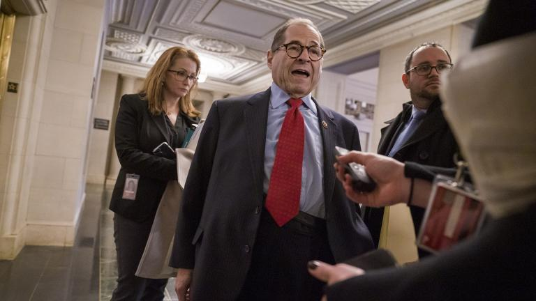 House Judiciary Committee Chairman Jerrold Nadler, D-N.Y., speaks with reporters after a closed-door session with his Democratic members to prepare for a public hearing Wednesday with legal experts to examine the constitutional grounds for the impeachment of President Donald Trump, on Capitol Hill in Washington, Tuesday, Dec. 3, 2019. (AP Photo/J. Scott Applewhite)