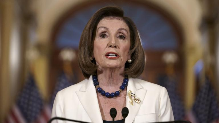 Speaker of the House Nancy Pelosi, D-Calif., makes a statement at the Capitol in Washington, Thursday, Dec. 5, 2019. Pelosi says the House is drafting articles of impeachment against President Donald Trump.   (AP Photo / J. Scott Applewhite)