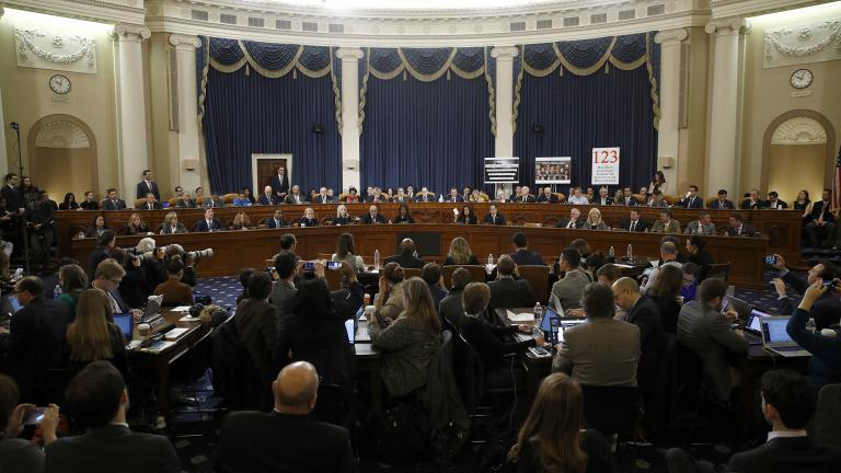 Members of the committee work during a House Judiciary Committee markup of the articles of impeachment against President Donald Trump, Friday, Dec. 13, 2019, on Capitol Hill in Washington. (AP Photo / Patrick Semansky, Pool)