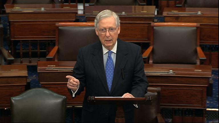 Senate Majority Leader Mitch McConnell of Kentucky speaks on the Senate floor, Thursday, Dec. 19, 2019 at the Capitol in Washington. (Senate TV via AP)