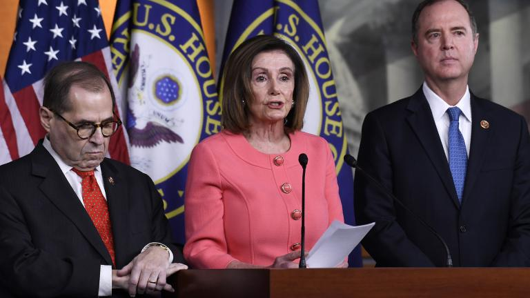 House Speaker Nancy Pelosi of Calif., center, flanked by House Judiciary Committee Chairman Rep. Jerrold Nadler, D-N.Y., left, and House Intelligence Committee Chairman Rep. Adam Schiff, D-Calif., speaks during a news conference to announce impeachment managers on Capitol Hill in Washington, Wednesday, Jan. 15, 2020. (AP Photo / Susan Walsh)
