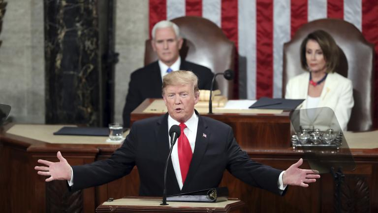 In this Feb. 5, 2019, file photo, President Donald Trump delivers his State of the Union address to a joint session of Congress on Capitol Hill in Washington, as Vice President Mike Pence and Speaker of the House Nancy Pelosi, D-Calif., watch. (AP Photo / Andrew Harnik, File)
