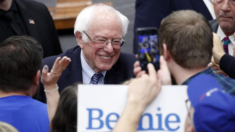 Democratic presidential candidate Sen. Bernie Sanders, I-Vt., greets supporters at a primary night election rally in Manchester, N.H., Tuesday, Feb. 11, 2020. (AP Photo / Pablo Martinez Monsivais)