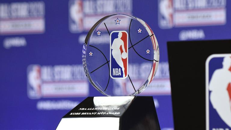 The NBA All-Star Game Kobe Bryant MVP Award is displayed during a news conference Saturday, Feb. 15, 2020, in Chicago. (AP Photo / David Banks)