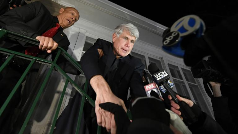 Former Illinois Gov. Rod Blagojevich shakes hands with a supporter as he arrives home in Chicago on Wednesday, Feb. 19, 2020, after his release from Colorado prison late Tuesday. (AP Photo / Paul Beaty)