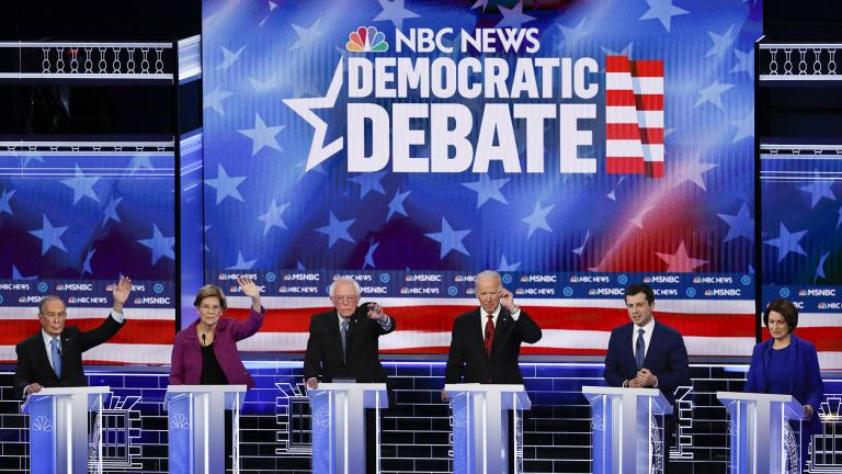 From left, Democratic presidential candidates, former New York City Mayor Mike Bloomberg, Sen. Elizabeth Warren, D-Mass., Sen. Bernie Sanders, I-Vt., former Vice President Joe Biden, former South Bend Mayor Pete Buttigieg, Sen. Amy Klobuchar, D-Minn., participate in a Democratic presidential primary debate Wednesday, Feb. 19, 2020, in Las Vegas, hosted by NBC News and MSNBC. (AP Photo / John Locher)