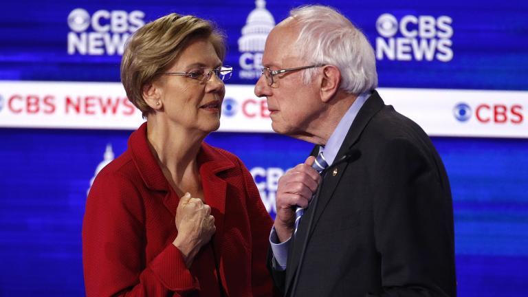 From left, Democratic presidential candidates, Sen. Elizabeth Warren, D-Mass., talks with Sen. Bernie Sanders, I-Vt., during a Democratic presidential primary debate at the Gaillard Center, Tuesday, Feb. 25, 2020, in Charleston, S.C., co-hosted by CBS News and the Congressional Black Caucus Institute. (AP Photo / Patrick Semansky)