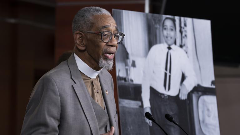 "Rep. Bobby Rush, D-Ill., speaks during a news conference about the ""Emmett Till Antilynching Act"" which would designate lynching as a hate crime under federal law, on Capitol Hill in Washington, Wednesday, Feb. 26, 2020. Emmett Till, pictured at right, was a 14-year-old African-American who was lynched in Mississippi in 1955, after being accused of offending a white woman in her family's grocery store. (AP Photo / J. Scott Applewhite)"