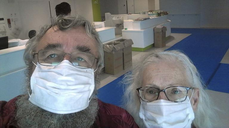 This Feb. 24, 2020 photo provided by Greg and Rose Yerex shows them in a hospital in Nagoya, Japan. Former passengers of the cruise ship Diamond Princess, they both tested positive for the coronavirus. (Greg Yerex via AP)