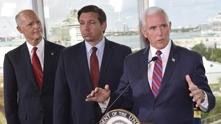Vice President Mike Pence, right, along with Florida Sen. Rick Scott, left, and Gov. Ron DeSantis, center, speaks to the media after a meeting with cruise line company leaders to discuss the efforts to fight the spread of the COVID-19 coronavirus, at Port Everglades, Saturday March 7, 2020, in Fort Lauderdale, Fla. (AP Photo / Gaston De Cardenas)