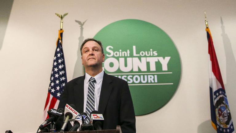 St. Louis County Executive Sam Page provides an update on local coronavirus cases during a news conference at the Office of Emergency Management in Baldwin, Mo., Monday, March 9, 2020. (Colter Peterson / St. Louis Post-Dispatch via AP)