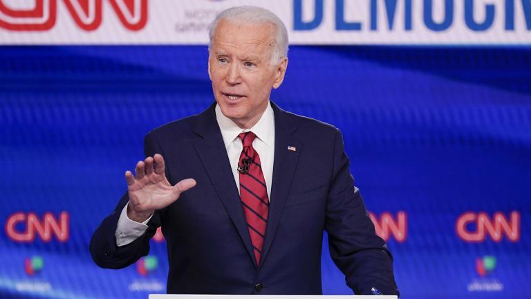 Former Vice President Joe Biden participates in a Democratic presidential primary debate at CNN Studios in Washington, Sunday, March 15, 2020. (AP Photo / Evan Vucci)