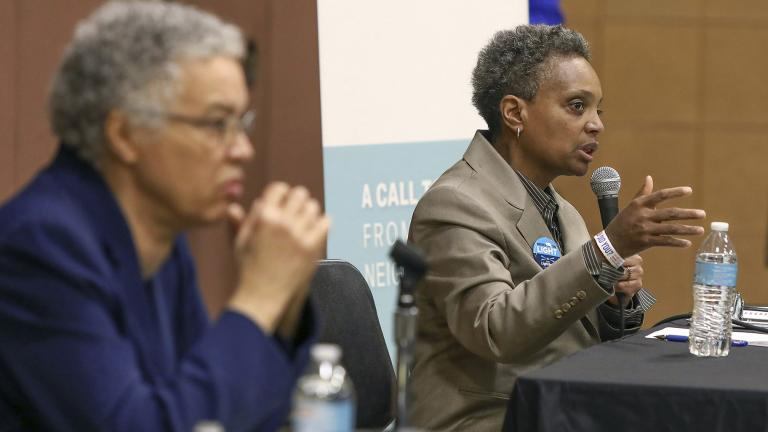In this March 24, 2019 photo, Chicago mayoral candidate Lori Lightfoot, right, participates in a candidate forum sponsored by One Chicago For All Alliance at Daley College in Chicago. (AP Photo / Teresa Crawford)