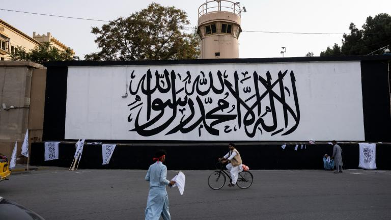 The iconic Taliban flag is painted on a wall outside the American embassy compound in Kabul, Afghanistan, Saturday, Sept. 11, 2021. (AP Photo / Bernat Armangue)