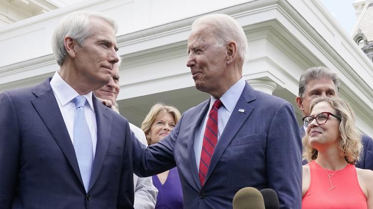President Joe Biden speaks with Sen. Rob Portman, R-Ohio, and other bipartisan group of senators, Thursday June 24, 2021, outside the White House in Washington. (AP Photo / Jacquelyn Martin)