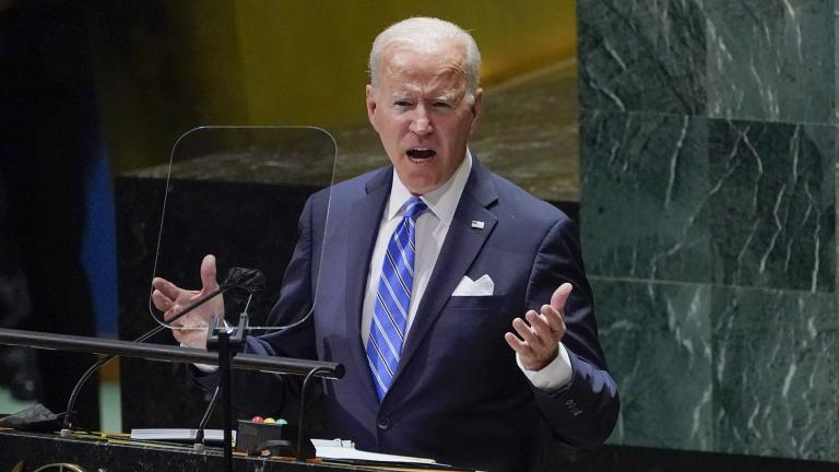 President Joe Biden delivers remarks to the 76th Session of the United Nations General Assembly, Tuesday, Sept. 21, 2021, in New York. (AP Photo / Evan Vucci)