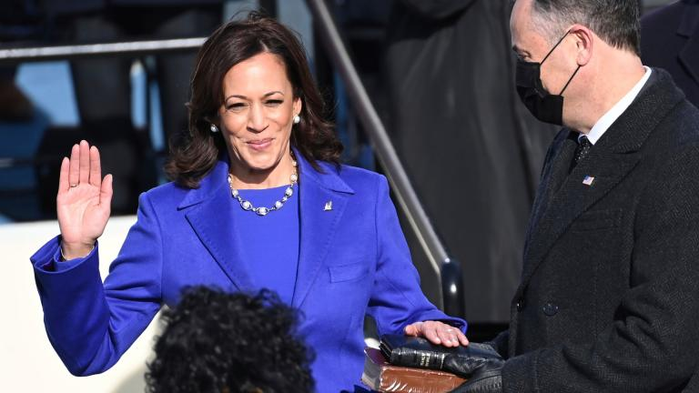 Kamala Harris is sworn in as vice president by Supreme Court Justice Sonia Sotomayor as her husband Doug Emhoff holds the Bible during the 59th Presidential Inauguration at the U.S. Capitol in Washington, Wednesday, Jan. 20, 2021. (Saul Loeb / Pool Photo via AP)