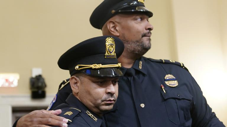 U.S. Capitol Police Sgt. Aquilino Gonell left, and U.S. Capitol Police Sgt. Harry Dunn stand after the House select committee hearing on the Jan. 6 attack on Capitol Hill in Washington, Tuesday, July 27, 2021. (AP Photo / Andrew Harnik, Pool)
