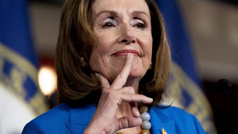 House Speaker Nancy Pelosi of Calif. reacts as she listens to a question from a reporter during her weekly press briefing on Capitol Hill, Thursday, Sept. 30, 2021, in Washington. (AP Photo / Andrew Harnik)