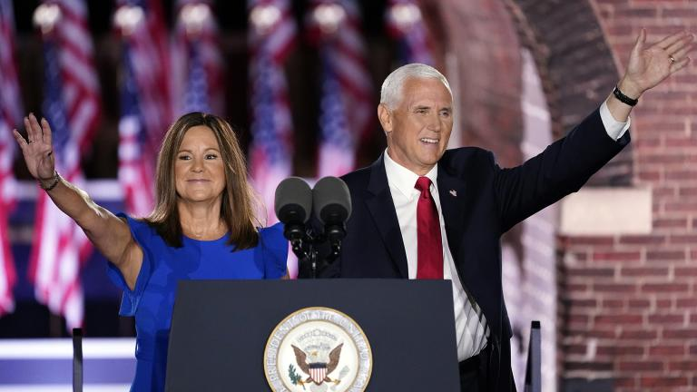 Vice President Mike Pence arrives with his wife Karen Pence to speak on the third day of the Republican National Convention at Fort McHenry National Monument and Historic Shrine in Baltimore, Wednesday, Aug. 26, 2020. (AP Photo / Andrew Harnik)