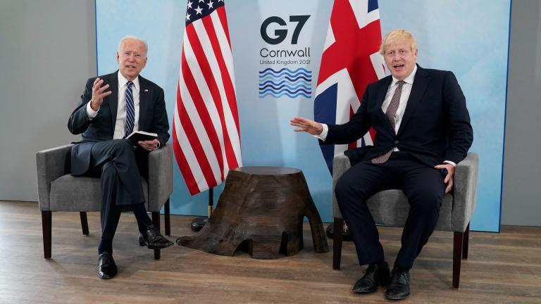 President Joe Biden and British Prime Minister Boris Johnson visit during a bilateral meeting ahead of the G-7 summit, Thursday, June 10, 2021, in Carbis Bay, England. (AP Photo / Patrick Semansky)