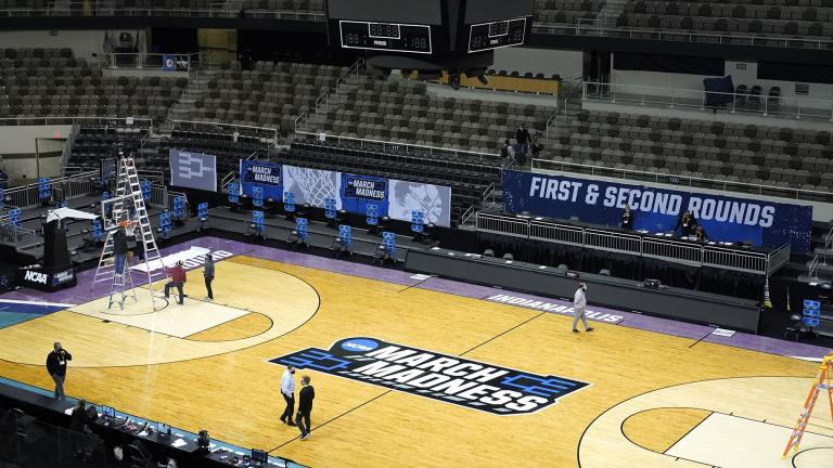 The Indiana Farmers Coliseum scoreboard goes dark after a first round NCAA college basketball tournament game between Iowa and Grand Canyon Saturday, March 20, 2021, in Indianapolis. (AP Photo / Charles Rex Arbogast)