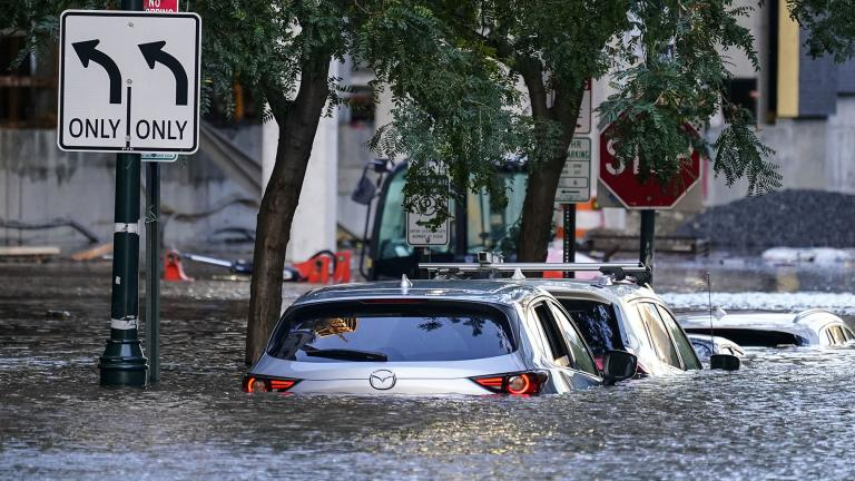 Vehicles are under water during flooding in Philadelphia, Thursday, Sept. 2, 2021 in the aftermath of downpours and high winds from the remnants of Hurricane Ida that hit the area. (AP Photo / Matt Rourke)