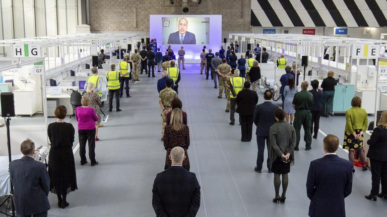 Britain's Prince William speaks via videolink as he officially opens the NHS Nightingale Hospital Birmingham, in the National Exhibition Centre (NEC), England, Thursday April 16, 2020. (Jacob King / Pool Photo via AP)