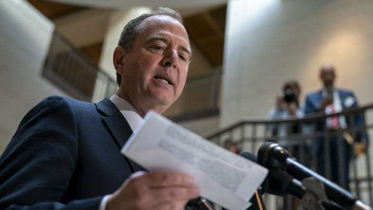 House Intelligence Committee Chairman Adam Schiff, D-Calif., speaks to reporters after the panel met behind closed doors with national intelligence inspector general Michael Atkinson about a whistleblower complaint, at the Capitol in Washington, Thursday, Sept. 19, 2019. (AP Photo / J. Scott Applewhite)