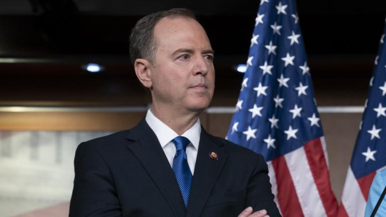 House Intelligence Committee Chairman Adam Schiff, D-Calif., listens at a news conference with Speaker of the House Nancy Pelosi, D-Calif., as House Democrats move ahead in the impeachment inquiry of President Donald Trump, at the Capitol in Washington, Wednesday, Oct. 2, 2019. (AP Photo / J. Scott Applewhite)