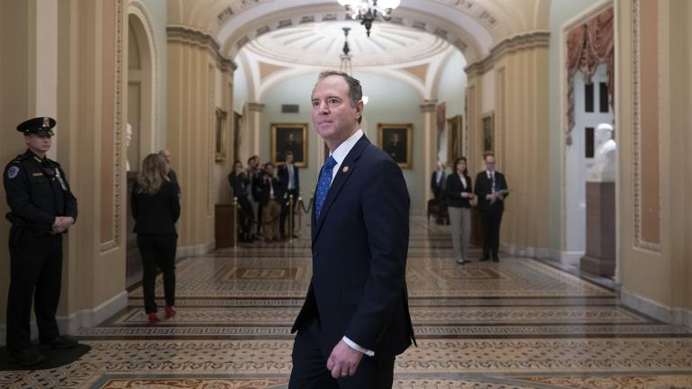 House Democratic impeachment manager, House Intelligence Committee Chairman Adam Schiff, D-Calif., arrives at the Senate as work resumes in the impeachment trial of President Donald Trump on charges of abuse of power and obstruction of Congress, at the Capitol in Washington, Saturday, Jan. 25, 2020. (AP Photo / J. Scott Applewhite)