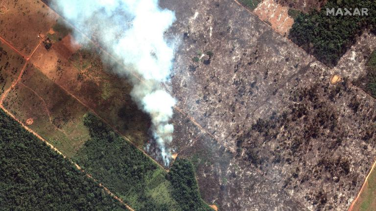 This Aug. 15, 2019 satellite image from Maxar Technologies shows a close-up view of a fire southwest of Porto Velho Brazil. Brazil's National Institute for Space Research, a federal agency monitoring deforestation and wildfires, said the country has seen a record number of wildfires this year as of Tuesday, Aug. 20. (Satellite image ©2019 Maxar Technologies via AP)