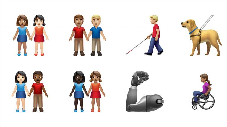 These images provided by Apple shows new emoji released by Apple. (Apple via AP)