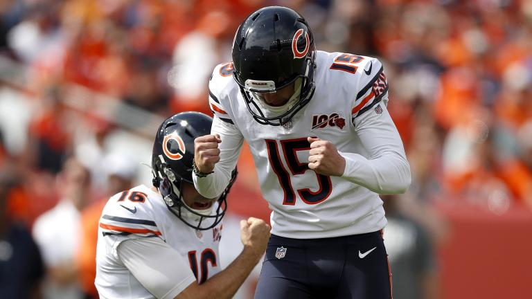Chicago Bears kicker Eddy Pineiro (15) celebrates his field goal with punter Pat O'Donnell (16) during the first half of an NFL football game against the Denver Broncos, Sunday, Sept. 15, 2019, in Denver. (AP Photo / David Zalubowski)