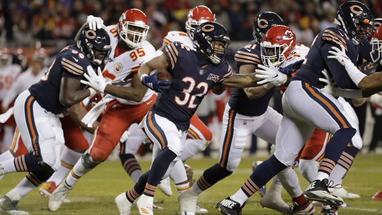 Chicago Bears running back David Montgomery (32) runs against the Kansas City Chiefs in the first half of an NFL football game in Chicago, Sunday, Dec. 22, 2019. (AP Photo  /Nam Y. Huh)