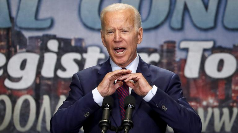 Democratic presidential candidate former Vice President Joe Biden addresses the Rainbow PUSH Coalition Annual International Convention Friday, June 28, 2019, in Chicago. (AP Photo / Charles Rex Arbogast)