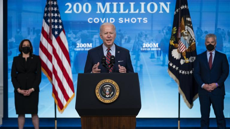 Vice President Kamala Harris, left, and White House COVID-19 Response Coordinator Jeff Zients, right, listen as President Joe Biden speaks about COVID-19 vaccinations at the White House, Wednesday, April 21, 2021, in Washington. (AP Photo / Evan Vucci)