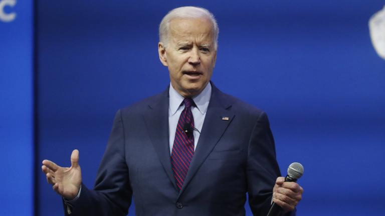 Democratic presidential candidate former Vice President Joe Biden, one of seven scheduled Democratic candidates participating in a public education forum, makes opening remarks, Saturday, Dec. 14, 2019, in Pittsburgh (AP Photo / Keith Srakocic)