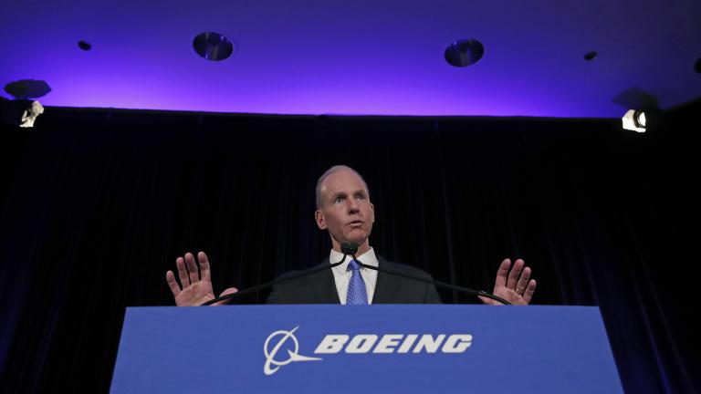 Boeing Chief Executive Dennis Muilenburg speaks during a news conference after the company's annual shareholders meeting at the Field Museum in Chicago, on Monday, April 29, 2019. (AP Photo / Jim Young, Pool)