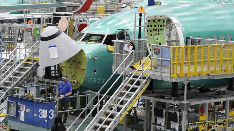 In this March 27, 2019, file photo, a Boeing 737 MAX 8 airplane is shown on the assembly line during a brief media tour of Boeing's 737 assembly facility in Renton, Washington. (AP Photo / Ted S. Warren, File)