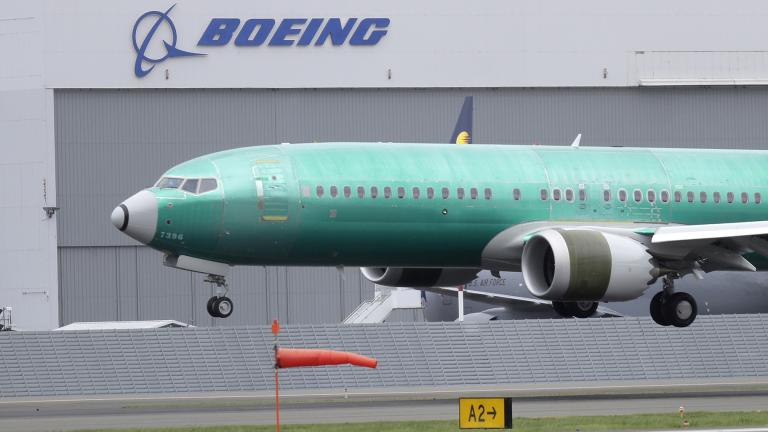 In this April 10, 2019, file photo a Boeing 737 MAX 8 airplane being built for India-based Jet Airways lands following a test flight at Boeing Field in Seattle. (AP Photo / Ted S. Warren, File)