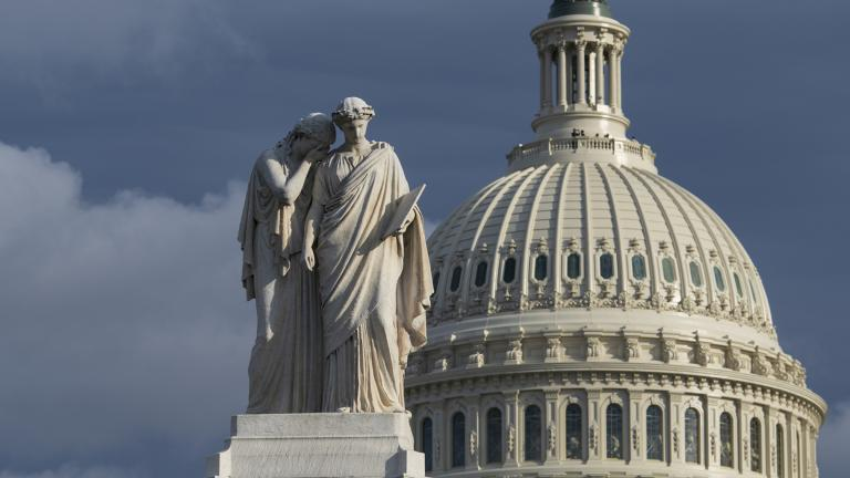 The Capitol is seen as the House is set to begin public impeachment inquiry hearings as lawmakers debate whether to remove President Donald Trump from office, in Washington, Tuesday, Nov. 12, 2019. At left is the Peace Monument. (AP Photo / J. Scott Applewhite)