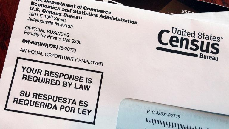 This March 23, 2018, file photo shows an envelope containing a 2018 census letter mailed to a U.S. resident as part of the nation's only test run of the 2020 Census. (AP Photo / Michelle R. Smith, File)