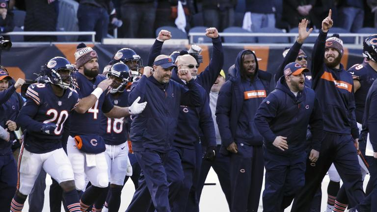 Chicago Bears head coach Matt Nagy celebrates with his team after an NFL football game against the Green Bay Packers on Sunday, Dec. 16, 2018, in Chicago. The Bears won 24-17. (AP Photo / David Banks)